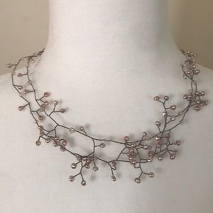 Necklace of baby's breath - beaded on fine wire